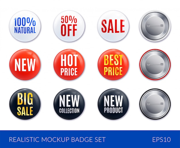 Red white and black realistic badge sticker icon set with new hot price best price sale and other descriptions  illustration Free Vector