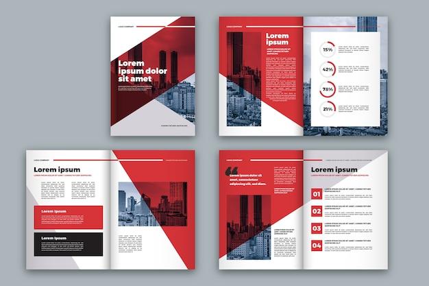Layout modello brochure rosso e bianco Vettore gratuito