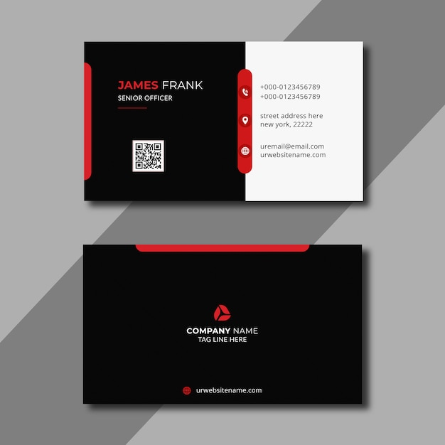 Red and white business card template Premium Vector