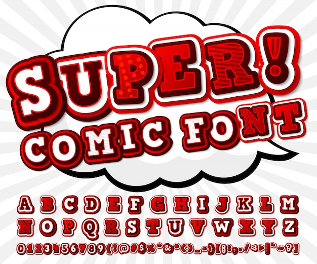 Red and white comics font, cartoonish alphabet in pop art style Premium Vector