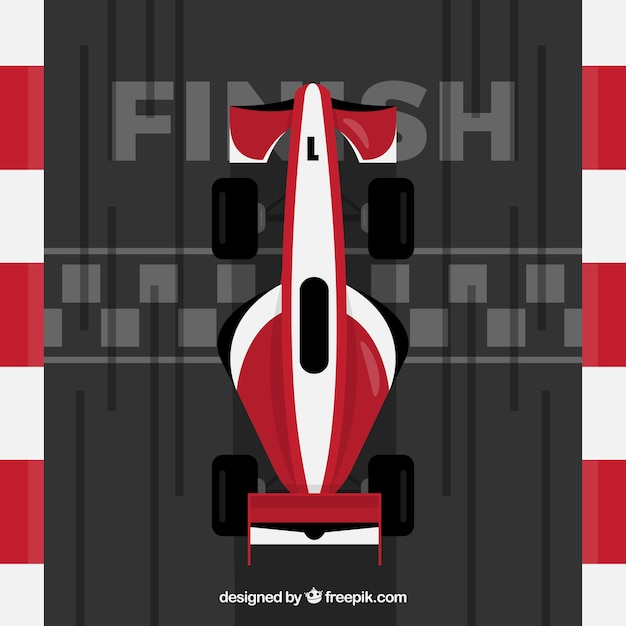 Red and white f1 racing car crosses finish line Free Vector