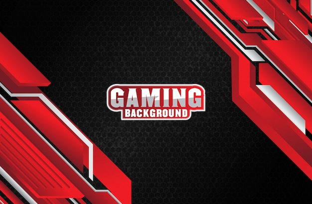 Red and white geometric abstract gaming background Premium Vector