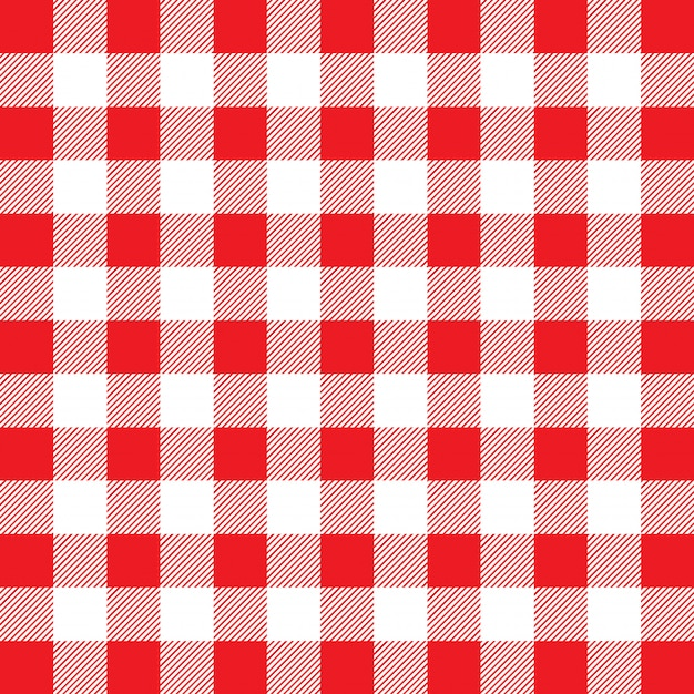 Red and white gingham pattern Free Vector