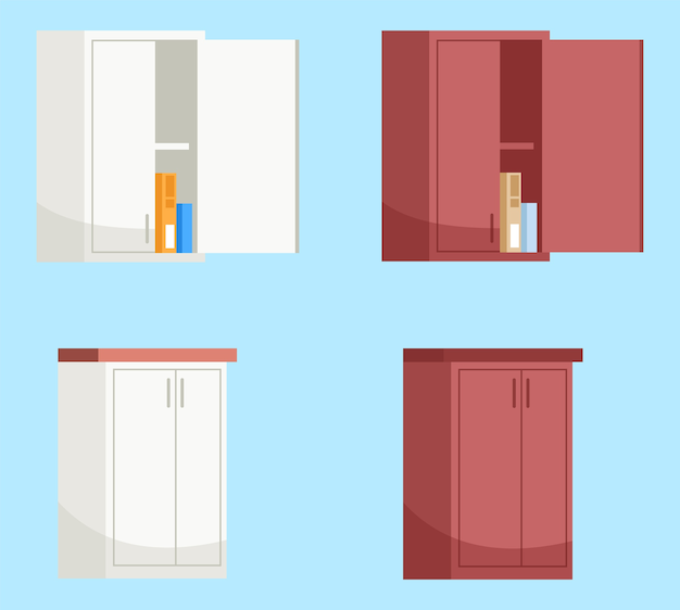 Red and white kitchen wall cabinets semi  rgb color  illustration set. kitchen furniture. open wall cabinet with boxes inside  cartoon objects collection on blue background Premium Vector