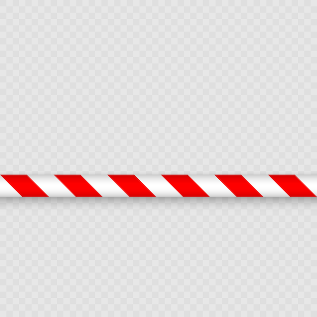 Red and white lines of barrier tape. warning tape pole fencing is protects for no entry Premium Vector