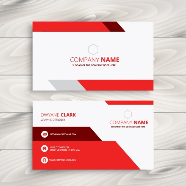 Red and white modern business card Free Vector