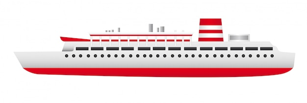 Red and white ship isolated over white background vector Premium Vector