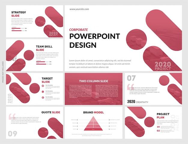 Красные белые слайды шаблон Premium векторы