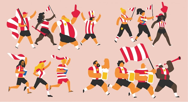 Red and white team fans celebration Premium Vector