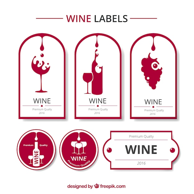Red and white wine labels collection Free Vector