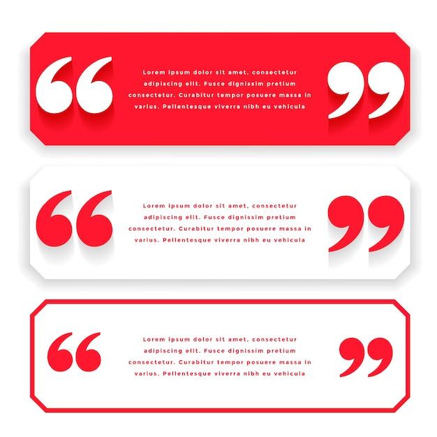 Citazioni larghe rosse o design del modello di testimonianza Vettore gratuito