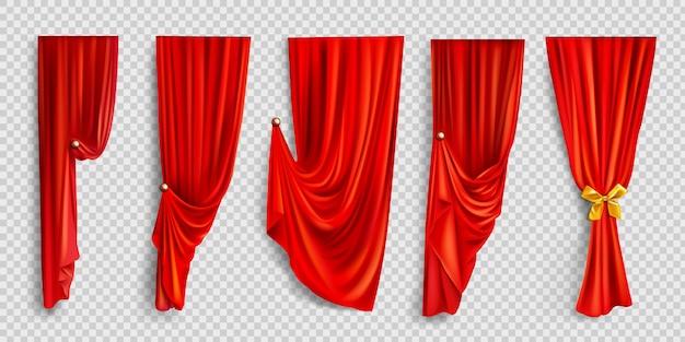 투명 배경에 빨간색 창 커튼 무료 벡터