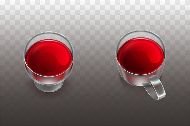 Red wine in beaker and fruit tea or cherry juice in glass cup Free Vector
