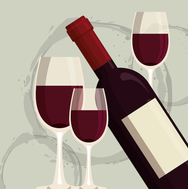 Red wine bottle and cup label Premium Vector