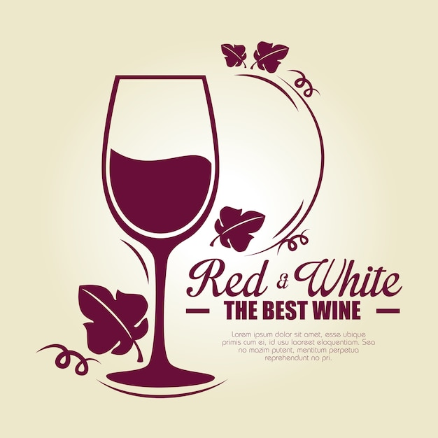 Red wine cup label Premium Vector