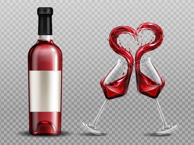 ワイングラスで赤ワインハートスプラッシュとボトルを閉じます。分離されたチャリンアルコール飲料と完全なグラス 無料ベクター