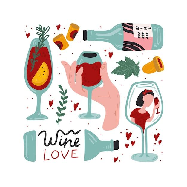 Набор для красного вина. отдельные векторные иллюстрации. Premium векторы