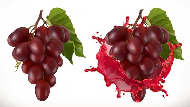 Всплеск красного вина и виноград. свежие фрукты Premium векторы