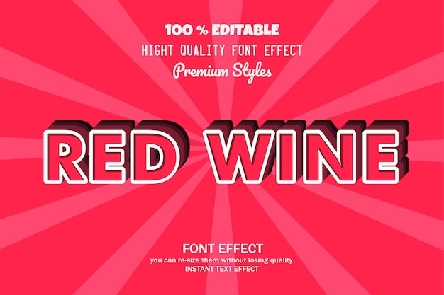 Red wine text,  font effect Premium Vector