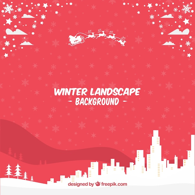 Red winter landscape background