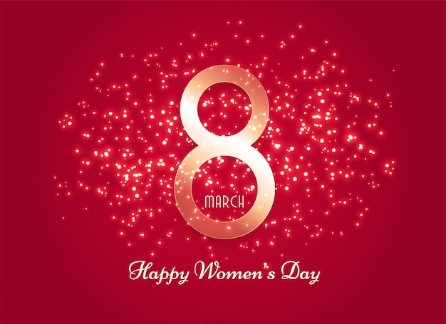 Red women's day background with sparkle effect Free Vector
