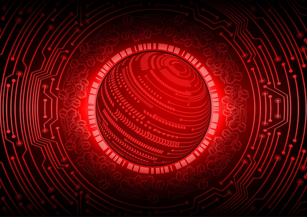 Red world cyber circuit future technology concept background Premium Vector