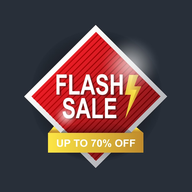 Red & yellow banner background abstract flash sale Premium Vector