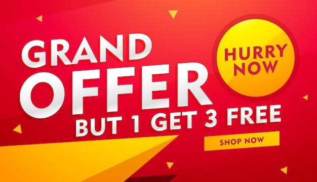 Red and yellow discount voucher Free Vector
