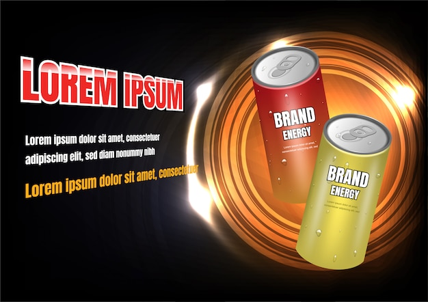 Red and yellow energy drinks ad Premium Vector