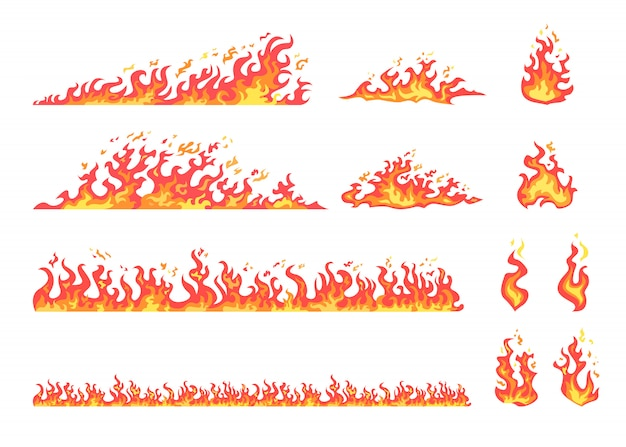 Red and yellow flame set Free Vector