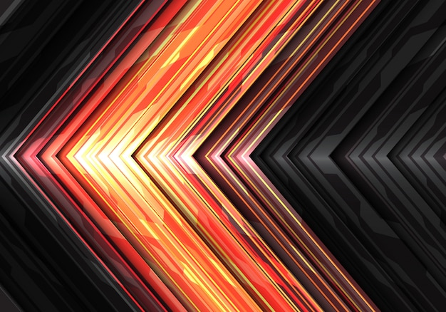 Red yellow light power arrow data system direction background. Premium Vector