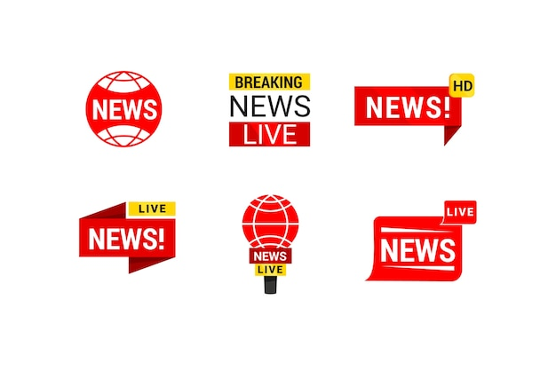 Red and yellow news business company logo Free Vector