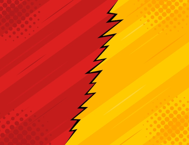 Red and yellow retro vintage style background with rays and lightning. Premium Vector