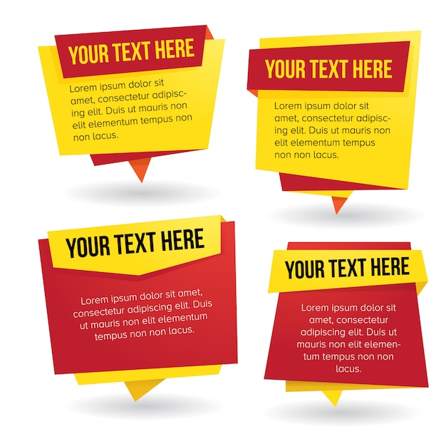 Red and yellow themed paper banner vector set Premium Vector