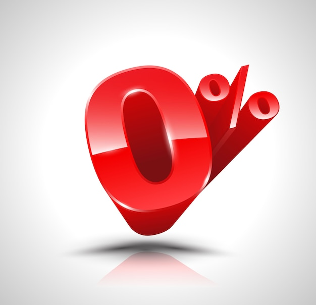Red zero percent or 0 % isolated Premium Vector