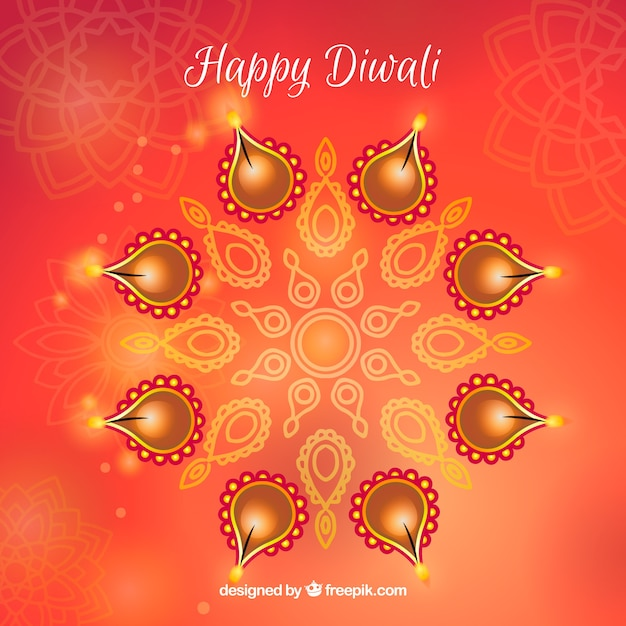 Reddish background of blurred with diwali candles