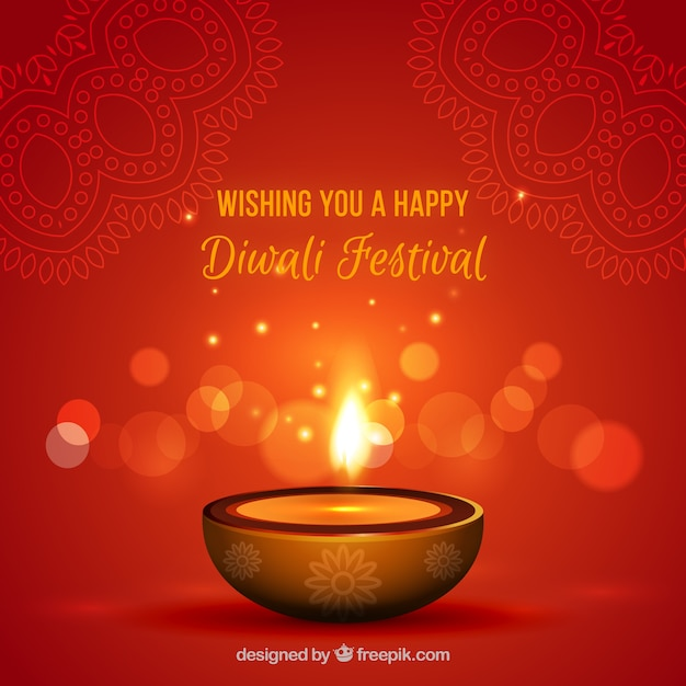 Reddish diwali candle background