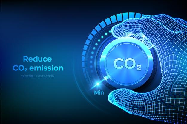 Уменьшите уровень co2. поверните рукой ручку регулятора выбросов углекислого газа в минимальное положение. Premium векторы