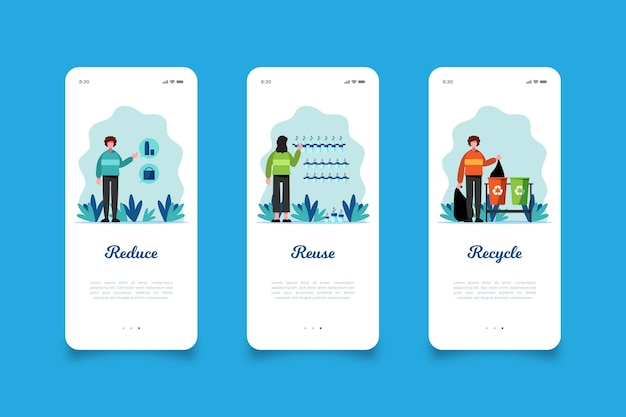 Reduce and recycle mobile app screens Free Vector