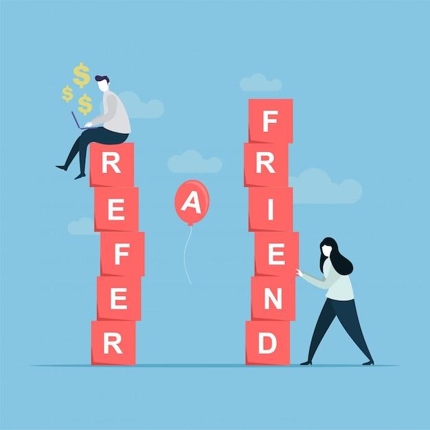 Refer a friend banner Premium Vector