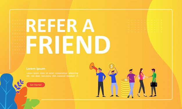 Refer a friend concept design can use for web landing page Premium Vector