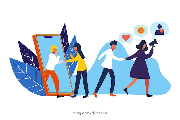 Refer a friend concept illustrated Free Vector