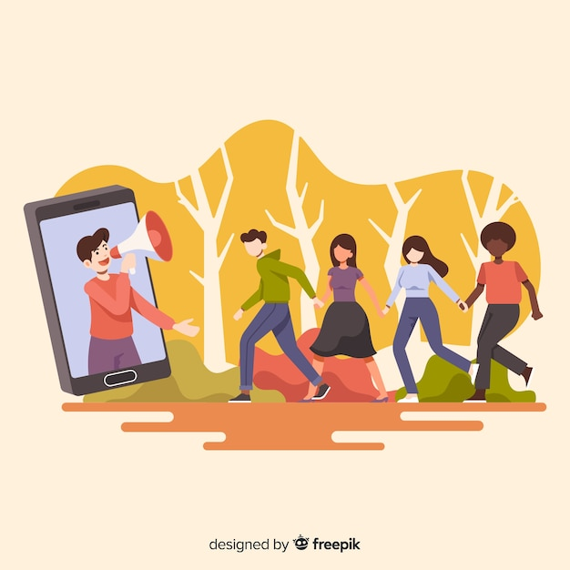 Refer a friend concept with cartoon people outdoors Free Vector