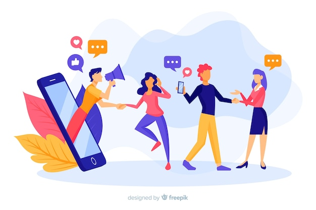Refer a friend concept with hand drawn people Premium Vector