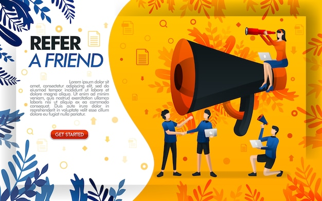 Refer a friend illustration with a giant megaphone for promotion Premium Vector
