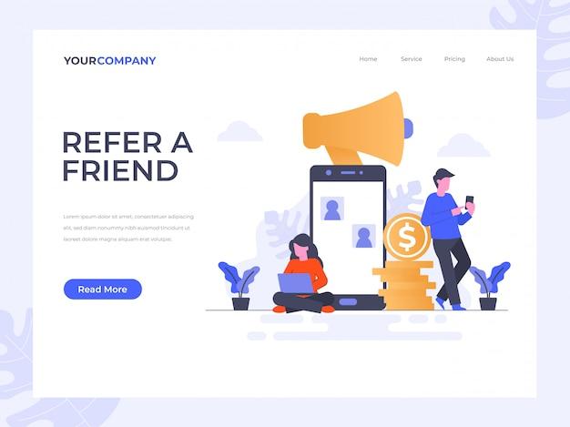 Refer a friend landing page Premium Vector