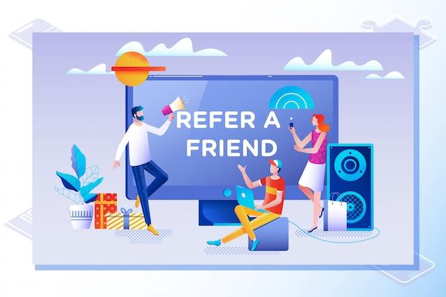 Refer a friend vector illustration concept Premium Vector