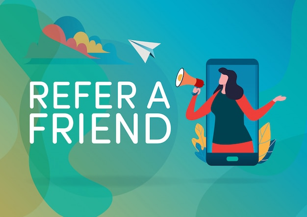 Refer a friend. Premium Vector