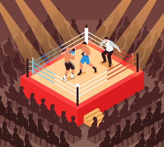 Referee and fighters during boxing match on ring and silhouettes of spectators isometric illustration Free Vector