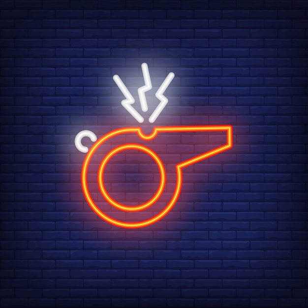 Referee whistle on brick background. neon style illustration. goal, trainer, signal. Free Vector